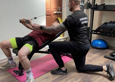 Matt delivers perfect reps with a laying cable tricep extensions