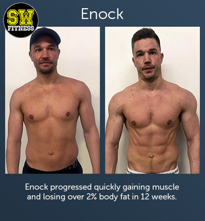 Enock progressed quickly gaining muscle and losing over 2% body fat in 12 weeks.