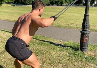 Bent-over single arm lat pull